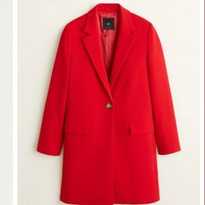 Mango NWT Lapelled Straight Cut Coat in Red